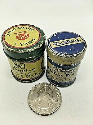 2 Adhesive Plaster Medical Tape Tins B&B Firstaid ZincOxide Vintage Advertising