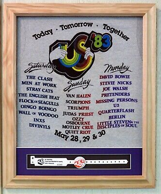 Vintage 1983 US Festival T Shirt - Framed With Matted Button and Wristband
