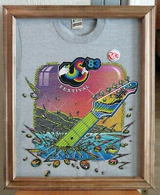 Vintage 1983 US Festival T Shirt - Framed With Button