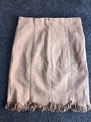 New MISSGUIDED Brown Tan Beige Denim Scallop Edge Skirt with Fraying