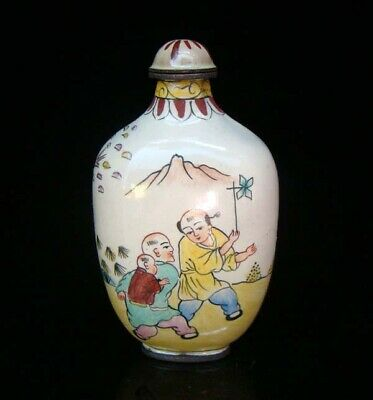 Collection 100% Handmade Painting Brass Cloisonne Snuff Bottles People 016