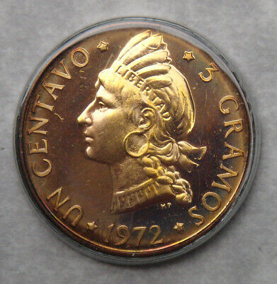 Proof 1972 Un Centavo Coin, Dominican Republic, 1 Cent, 3 Gramos, 500 Minted