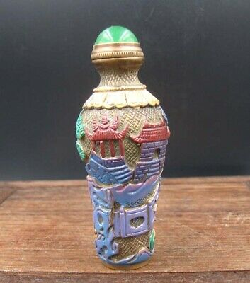 Collectible 100% Handmade  Painting Brass Snuff Bottles NO-24