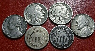 Mixed Type Lot (6) Old 5C NICKEL Coins 1867 1868 SHIELD 1936 37 BUFFALO 51S 57D