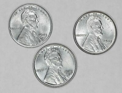 1943 P / D / S LINCOLN WHEAT CENT PENNY 1C  STEEL CENTS  BU LOT OF 3  coins unc