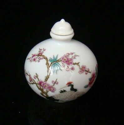 Collectible 100% Handmade Painting Porcelain Snuff Bottles Crane 44