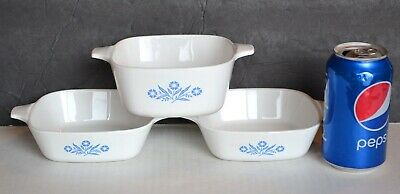 (3) Corning Ware BLUE CORNFLOWER Baking Dishes 22 oz & 1-3/4 cup