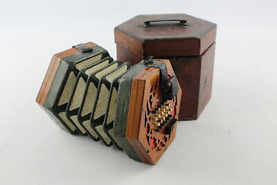 Antique 19th Century LACHENAL & Co. 48 Button CONCERTINA Working