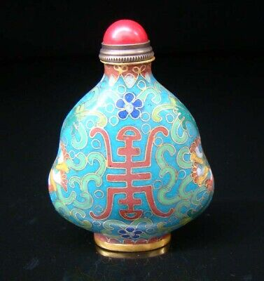 Collectibles 100% Handmade Painting Brass Cloisonne Enamel Snuff Bottles 081