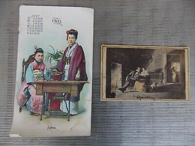 "1903 singer sewing machine trade card Japan + ""Sparkling"" card New Jersey"