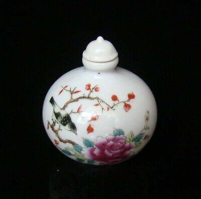 Collectible 100% Handmade Painting Porcelain Snuff Bottles Flower Bird 52