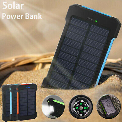 500000mAh Solar Power Bank Waterproof 2 USB LED Battery Charger For Cell Phone