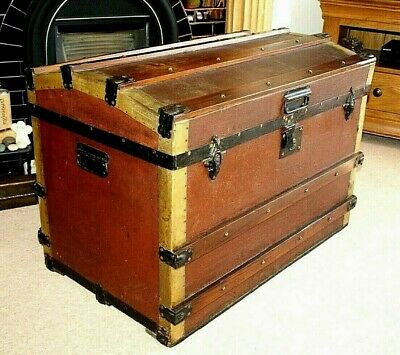 Antique Dome Top Steamer Trunk, Iron + Brass Banding, Storage, Nice Item
