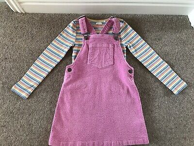 Next Girls Pink Cord Pinafore And Pink Stripe Top Outfit Age 5-6 - Immaculate