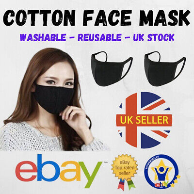 Mouth Face Mask Reusable Mask Washable Breathable Stretch Black Adult Mask UK