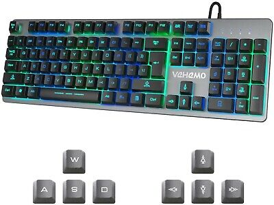 Vehemo RGB Membrane Gaming Keyboard USB Wired LED Backlit For PC Laptop New #AZG