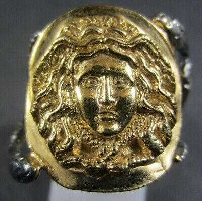 Beautiful Ancient Roman Greek Gold Silver Ring Mythical Medusa Gorgon Snakes