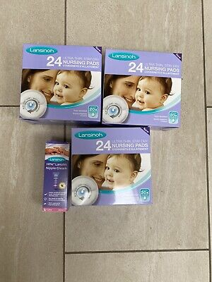 Lansinoh Nursing Pads - 2x Boxes Of 24 1x Box Of 6 And Half Tube Of Nipple Cream