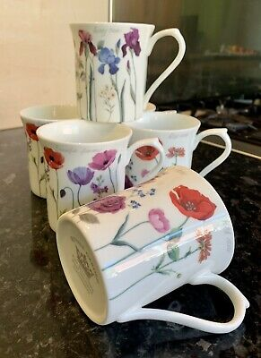 Brand New Fine Bone China Set Of 6 Assorted Flower Design Mugs. Free Postage..