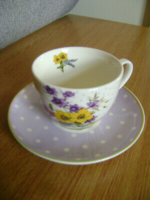 Vintage Orchid design purple spot and floral Tea cup and saucer