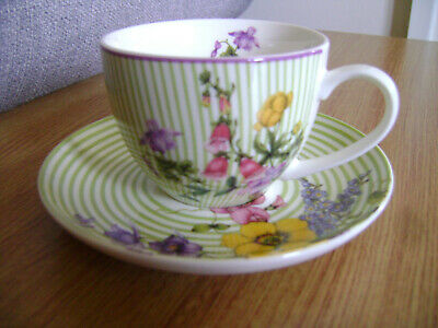 Vintage Orchid design Green stripe and floral Tea cup and saucer