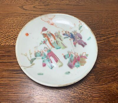 19th Century Chinese Famille Rose Figural Dish / Plate Tongzhi Mark with Wax