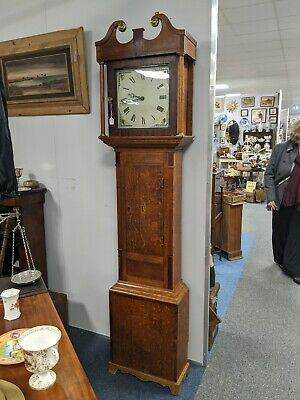 Georgian Oak & Mahogany Inlaid grandfather clock C1700's running