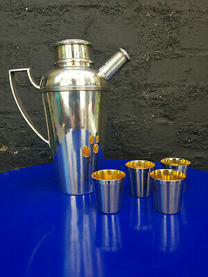Super Rare Art Deco Dunhill Silver Plated Cocktail Shaker And Shot Cups