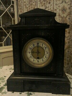 Antique rare Badische Uhrenfabric Black Forest mantle clock, lovely enamel face.