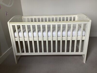 White Mothercare Taunton Cot Bed and John Lewis Mattress