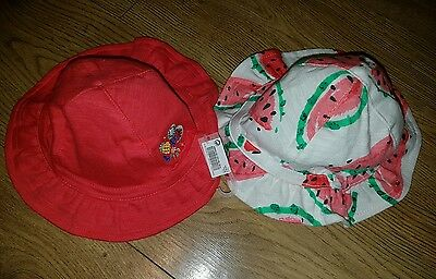 NEXT x2 pack Girls Summer Hats/Panama size 0-3 months NEW Kids Hat Red White