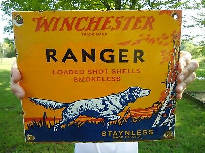 Old Vintage 1956 Winchester Ranger Porcelain Enamel Sign Remington Colt