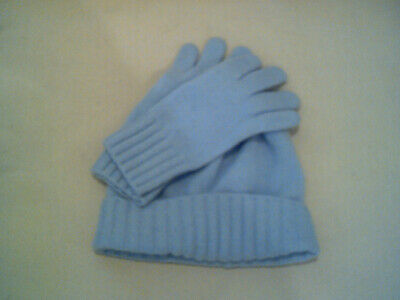 *NEW Baby Blue Women's Portolano Italy Cashmere Beanie Hat and Gloves  NWOT