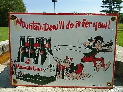 Old Vintage 1961 Mountain Dew Porcelain Advertising Sign Hillbilly Soda Pop