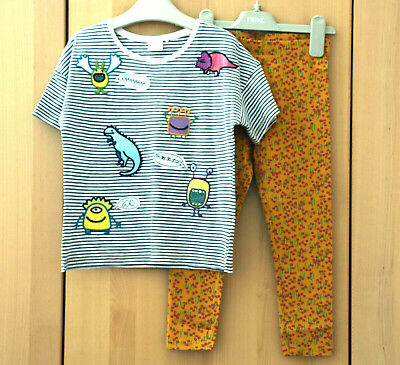 NEXT Girls Grey Stripe Top & Ochre Floral Print Leggings Age 3-4 Years BNWT