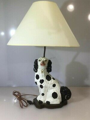 Staffordshire Porcelain Cavalier Dog Lamp