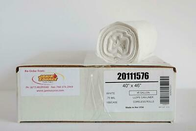 """45 Gal .8 Mil Low Density Can Liner, 40"""" x 46"""", White - Case of 100"""