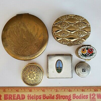 Vintage Pill Boxes, Compacts 6 pc Spain Barcelona Italy Micro Mosaic