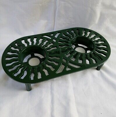 ❀ڿڰۣ❀ VICTOR ROBERT WELCH Oval CAST IRON Green FOOD WARMER TRIVET STAND ~ BOOTS