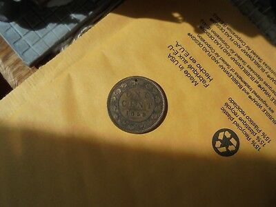 1859 Large Penny Dark Patina Bronze First Canadian Pennies Drilled Jewelry Hole