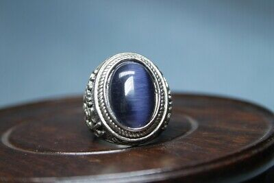 Collectable Decoration Exquisite Miao Silver Carve Gem Precious Elegant Ring