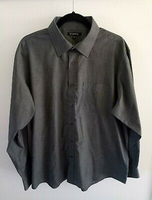 14 GEORGE Mens Shirt, Size 17.5, Long Sleeve, Button Up, Solid Grey.