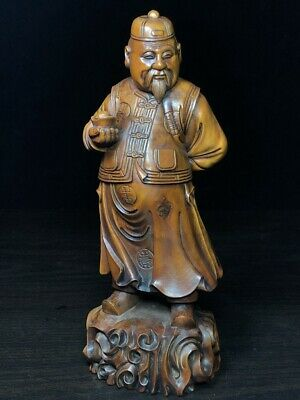 Collectable Exquisite Boxwood Carved Landlord Took Silver Ingot Noble Statue