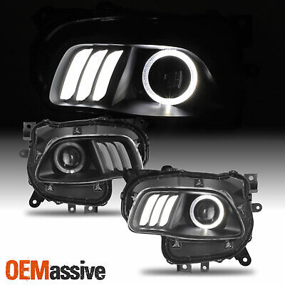For 2014-2018 Jeep Cherokee LED Halo DRL Projector Headlights - Black Housing
