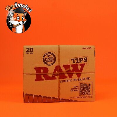20 Pack 1 Box RAW Natural Unrefined Pre-Rolled Filter Rolling Tips USA Authentic