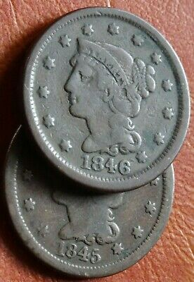 Well Detailed 1840s Date Run Lot Braided Hair LARGE Cent Coins 1845 1846 Old 1C