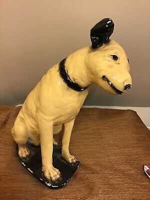 "Antique RCA His Masters Voice Nipper Dog 15"" Chalk Advertising Statue"