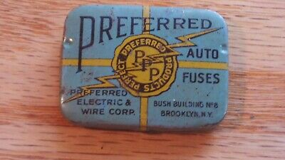"Vintage ""Preferred Auto Fuses"" Tin Advertising Box  Automotive"