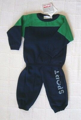 Vintage Baby Track Suit - Age  18 months- Navy/Green - Made in France -New