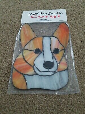 Hand made Corgi Dog Stained Glass Type Sun Catcher crafted gift Father's day